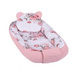 Baby Nest Multifunctional cu doua tipuri de material, Velur Pink Flowers