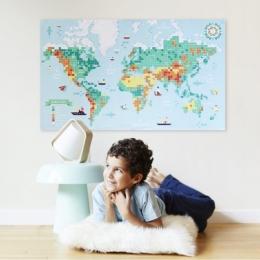 Joc educativ si creativ cu stickere Harta lumii, POPPIK