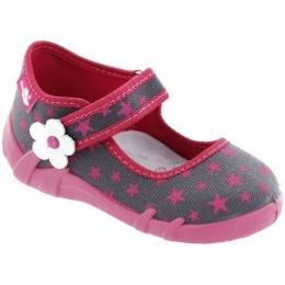 Pantofi Sandale Fetite, Rosu Gri, inchidere velcro, marca RenBut