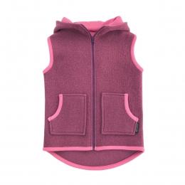 Vesta partial dublata din lana fiarta Dusty Pink/ Rose