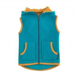 Vesta partial dublata din lana fiarta Turquoise/ Curry