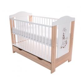Patut pentru bebelusi din lemn masiv, cu sertar, 120x60 cm, Gigi