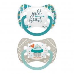 "Set 2 suzete ""Wild Nature + Cupcake"" cu tetina simetrica silicon, Canpol babies, fara BPA, 0-6 luni, gri"