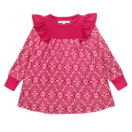 Rochie din lana merinos Raspberry Pink cu model