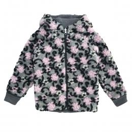 Jacheta dublata din lana fiarta Light Grey Flower