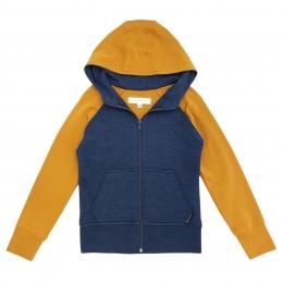 Cardigan din lana merinos extrafina colour block Prussian Blue/Saffron