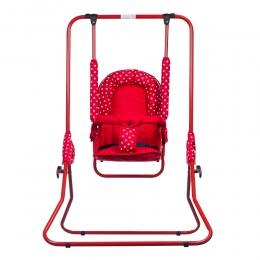 Leagan pentru copii, Top Kids, cu spatar reglabil si bara detasabila, Red Mini