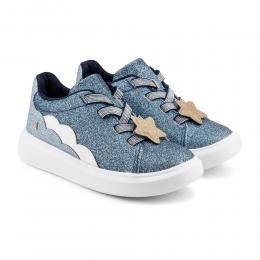 Pantofi Fete Bibi Glam Blue cu Sireturi Elastice