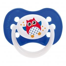 "Suzeta ""Owls"" cu inel fosforescent si tetina simetrica silicon, Canpol babies, fara BPA, 6-18 luni, albastru"