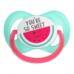 "Suzeta ""So Cool"" cu tetina simetrica silicon, Canpol babies, fara BPA, 6-18 luni, roz"