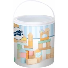 Cuburi de construit din lemn in culori pastelate