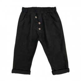 Pantaloni din in organic Black