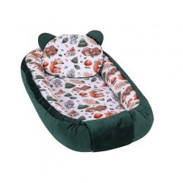 Baby Nest Multifunctional cu doua tipuri de material, Velur Green Animals