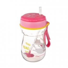 Cana sport cu pai si supapa mobila, Canpol babies, 350 ml, fara BPA, roz