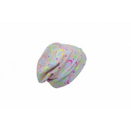 Caciula copii Heart Color din bumbac elastic in strat dublu cu bordura