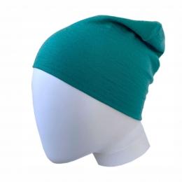 Caciula subtire dublata din lana merinos Turquoise