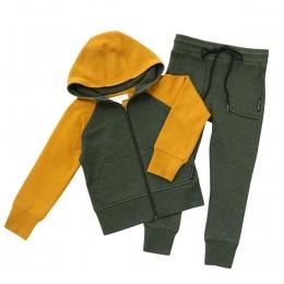 Set cardigan si pantaloni cu buzunare din lana merinos extrafina Deep Green