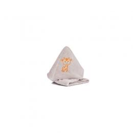 Prosop brodat Girafa stone bumbac organic 75x75cm. Fillikid