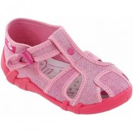 Sandale Fetite, Roz Rosu, inchidere catarama, marca RenBut