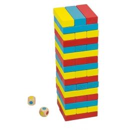 Joc Turnul colorat din lemn cu 48 de piese, Jenga, pentru 2 jucatori
