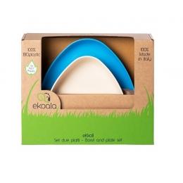 Set 2 farfurii, eKoala, BIOplastic, White/Blue