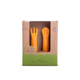 Set lingurita si furculita, eKoala, BIOplastic, Orange