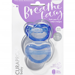 Suzeta ortodontica Curaprox pentru copii intre 7 si 18 luni, Blue