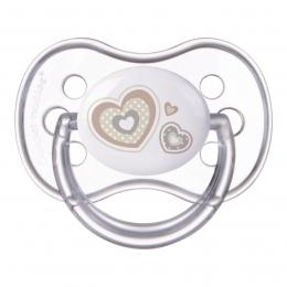 "Suzeta ""Newborn Baby"" cu tetina rotunda silicon, Canpol babies, fara BPA, 6-18 luni, bej"