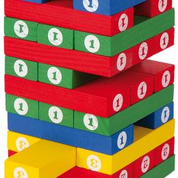 Joc turnul instabil din lemn colorat