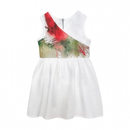 Rochie din in organic Alb/ Red Flowers