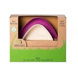 Set 2 farfurii, eKoala, BIOplastic, White/Purple