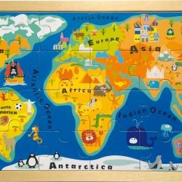 Harta Lumii - puzzle din lemn 24 piese