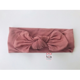 Bamboo Clay Pink Bow Bentita roz pamantiu din bambus
