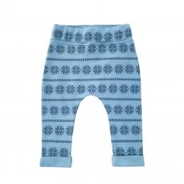 Pantaloni din lana merinos Blue Snowflake