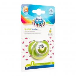 "Suzeta ""So Cool"" cu tetina simetrica silicon, Canpol babies, fara BPA, 18 luni+, verde"