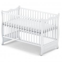 Patut bebelusi din lemn masiv, 120x60 cm, Moderna white