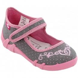 Pantofi Sandale Fetite, Gri Roz, inchidere velcro, marca RenBut