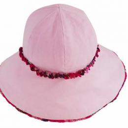 Palarie roz pentru fetite 6-10 ani din bumbac subtire de vara KidsDecor 56 cm