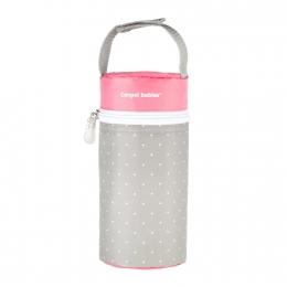 Izolator din material moale pentru biberoane, Canpol babies, imprimat buline, gri/roz