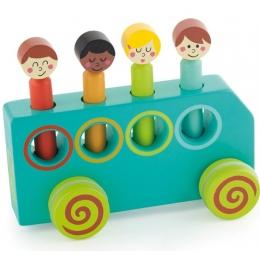 Jucarie din lemn educativa Autobuzul distractiei