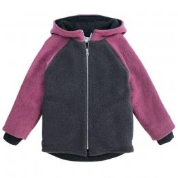 Jacheta dublata din lana fiarta colour block Dusty Pink/ Elderberry