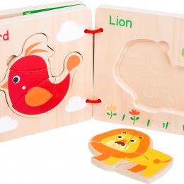 Carte din lemn - puzzle cu animale