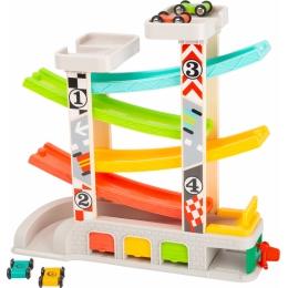 Cursa de masini cu 2 parcari si pista lata multicolora