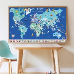 Joc educativ si creativ cu stickere Steagurile lumii, POPPIK