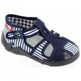 Sandale Baieti, Albastru Alb, inchidere catarama, marca RenBut