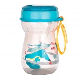 Cana sport cu pai si supapa mobila, Canpol babies, 350 ml, fara BPA, turcoaz