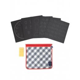 Set 5 planse reutilizabile, 4 ButterStix® si husa cu fermoar - Bored Board Set - Letters - Jaq Jaq Bird