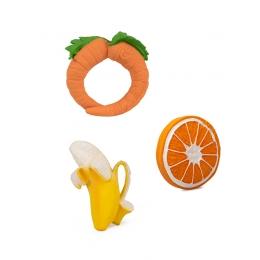 Set 3 jucarii pentru dentitie, din cauciuc natural, Fructe&Legume Diversificare