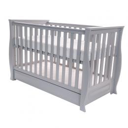 Patut pentru bebelusi din lemn masiv, cu sertar, 120x60 cm, Dona Lux grey