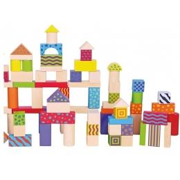 Galetusa cu 100 de cuburi de construit din lemn, multicolore